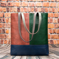 Genuine Leather Color Block Tote Bag (FREE SHIPPING)