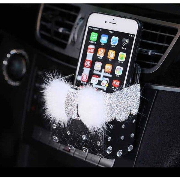 PU Leather and Crystal Rhinestone Mobile Phone Car Storage Box - 2 Colors (FREE SHIPPING)