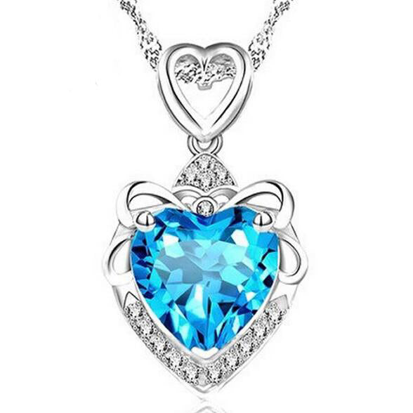 Sterling Silver Heart Stone Necklace - 2 Different Colors (FREE SHIPPING)