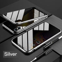 Magnetic 360 Degree Shockproof Phone Case w/Privacy Glass for iPhone