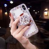 3D Rhinestone Transparent Phone Case w/Finger Stand for iPhone (FREE SHIPPING)