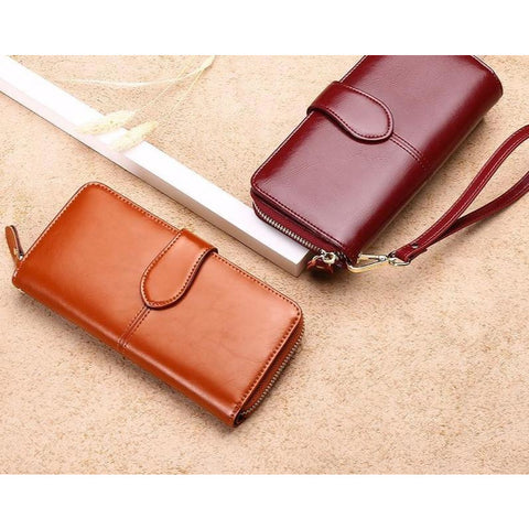 Long RFID Anti-Theft Zip Up Genuine Split Leather Wallet - 7 Colors!