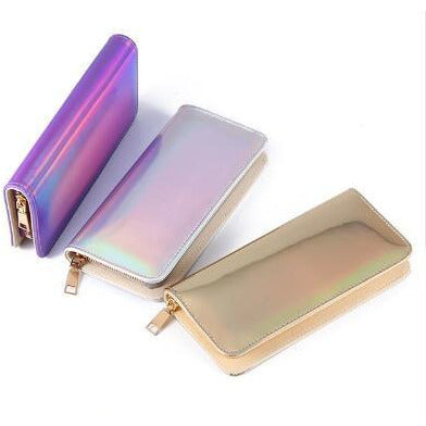 Hologram Zipper Clutch Wallet
