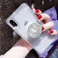 Transparent Rhinestone Mobile Phone Case w/Ring Holder/Stand for iPhone (FREE SHIPPING)