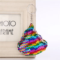 Sequin Poo Shaped Emoji Keychain (FREE SHIPPING)