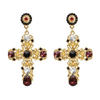 Vintage Boho Crystal Cross Drop Earrings - 31 Colors and Designs