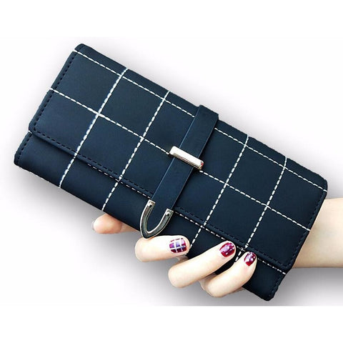 Long Plaid PU Leather Wallet