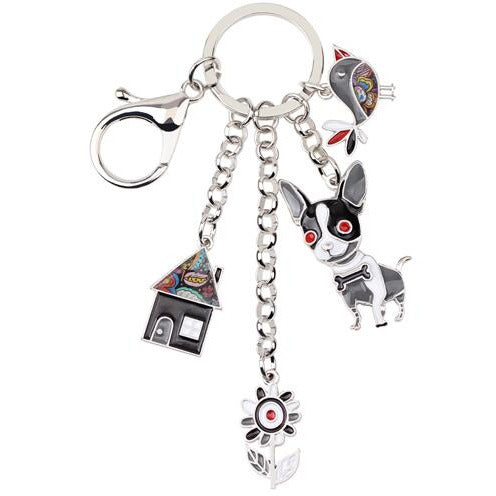 Chihuahua Charm Keychain - Available in 6 Color Combos (FREE SHIPPING)