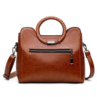 Round Handle Oil Leather Handbag w/Shoulder Strap - 3 Different Colors (FREE SHIPPING)