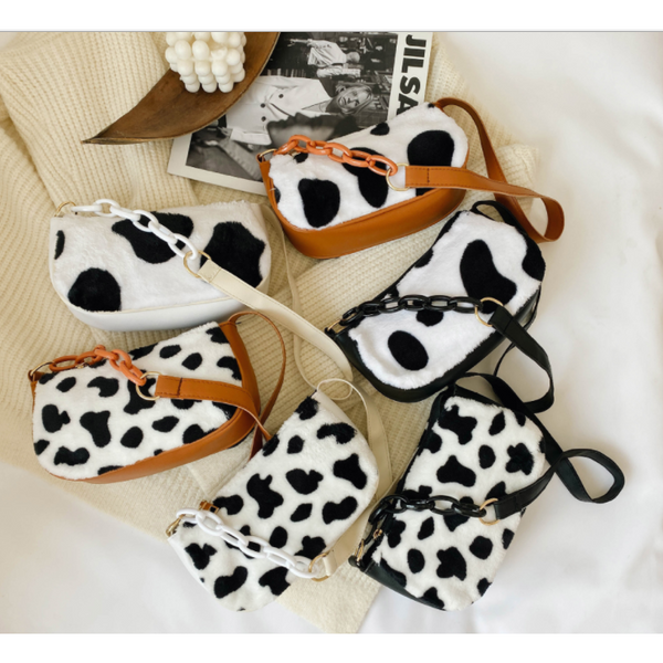Cute Cow Print Plush Shoulder Bag - 6 Designs/Colors (FREE SHIPPING)