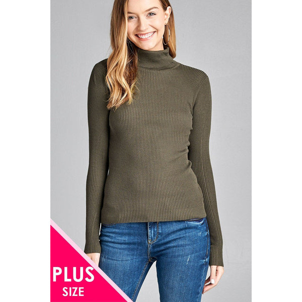 Plus Size Long Sleeve Turtle Neck Ribbed Sweater - 8 Different Colors