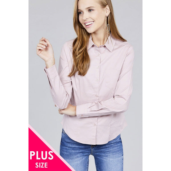 Plus Size Long Sleeve Button Down Stretch Shirt