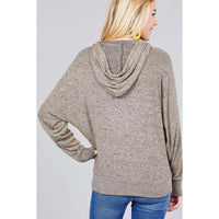 Long Sleeve Hooded Knit Top