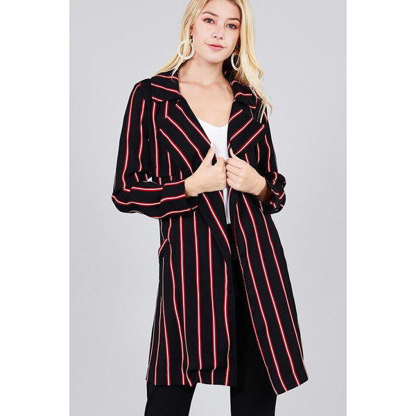 Notched Collar Multi-Striped Long Woven Jacket