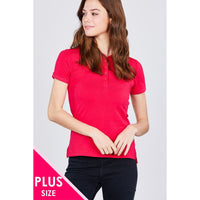 Plus Size Classic Jersey Polo Top- 5 Colors to Choose From