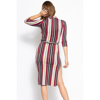 Belted Side Slit Striped Print Midi Dress