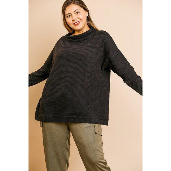 Plus Size Waffle Knit Long Sleeve Folded Neck Top
