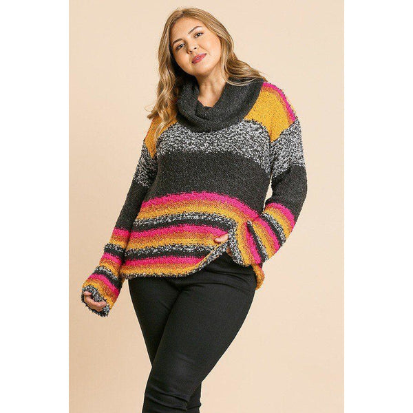 Plus Size Multi-Color Striped Fuzzy Knit Pullover Sweater