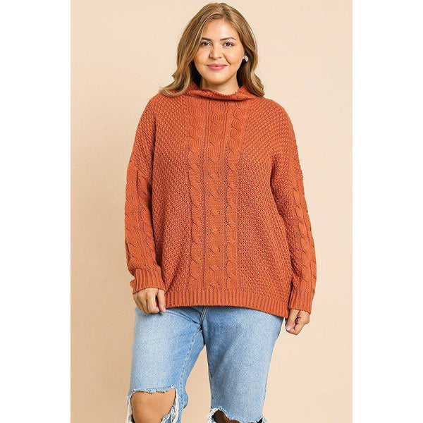 Plus Size Cable Knit Mock Neck Pullover Sweater