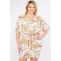 Plus Size Multi-Color Print Short Sleeve Dress