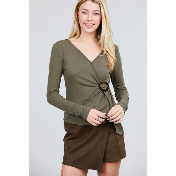 Long Sleeve Deep V-Neck Side Buckle Detail Rib Knit Top - 4 Colors