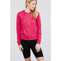 Long Sleeve Zip Up French Terry Hoodie w/Kangaroo Pockets - 14 Colors!