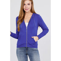 Long Sleeve Zip Up French Terry Hoodie w/Kangaroo Pockets - 11 Colors