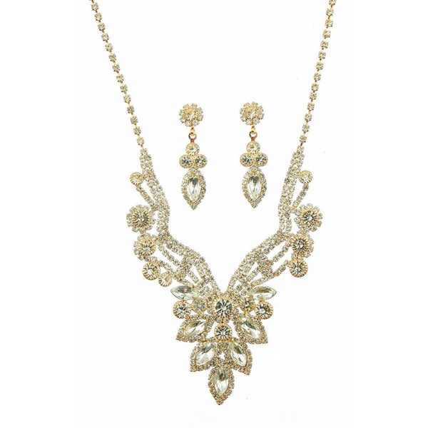Marquise Multi-Rhinestone Necklace and Earrings Set