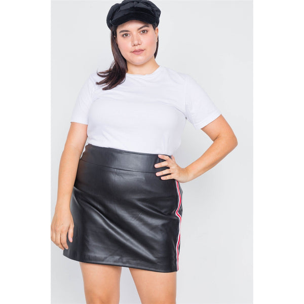 Plus Size Color Block Trim Mini Faux Leather Skirt
