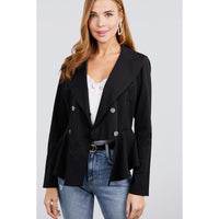 Plus Size Double Breasted Ruffle Hem Jacket
