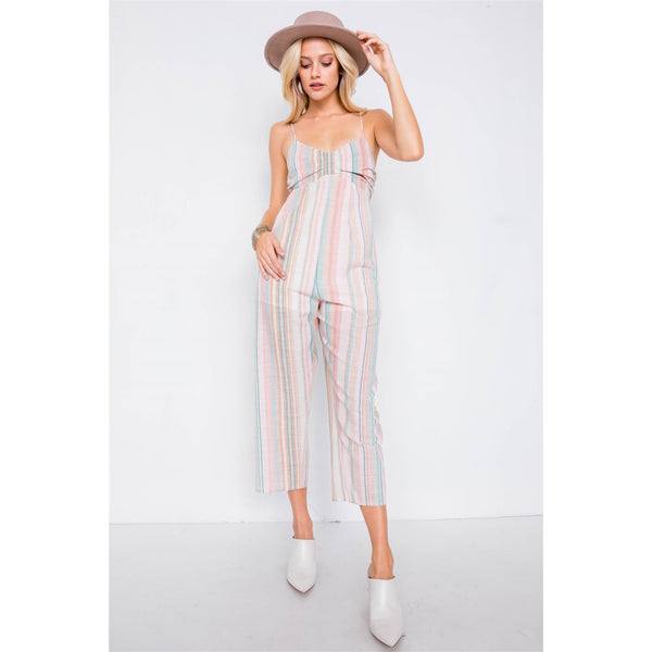 Multi-Stripe Ribbon Shaped Front Jumpsuit