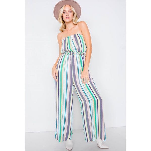 Multi-Stripe Strapless Lightweight Wide Leg Jumpsuit