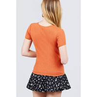Short Sleeve Lace Trim Crew Neck Pointelle Knit Top - in 7 Colors!