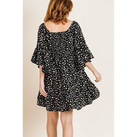 Dalmatian Print Ruffle Bell Sleeve Dress