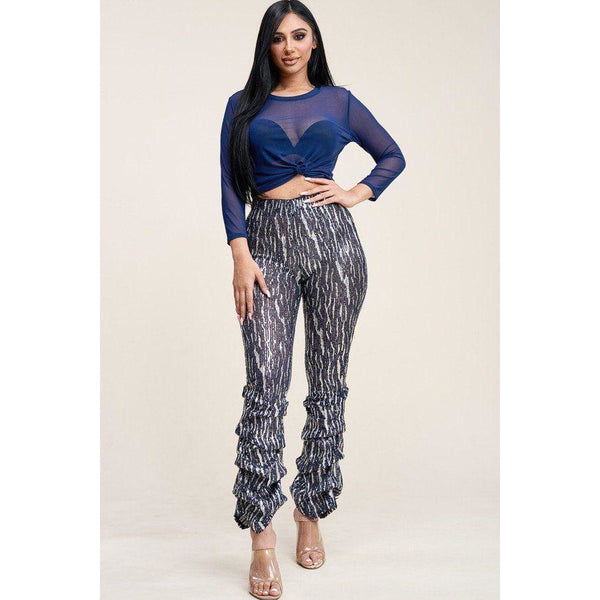 Sequin High Rise Stacked Pants and Mesh Top Set