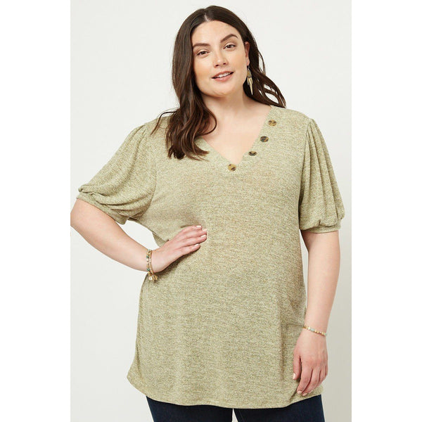 Plus Size Lightweight Knit V-Neck Top