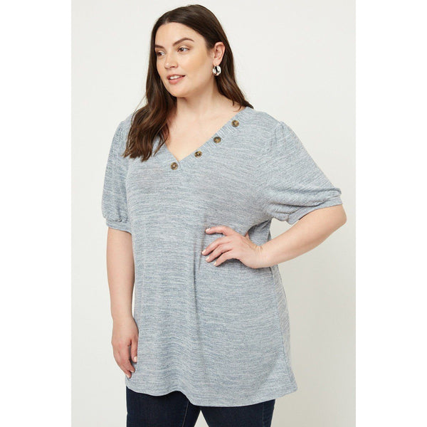 Plus Size Knit Lightweight V-Neck Top