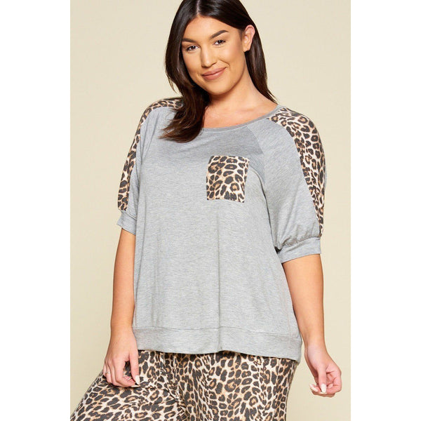 Plus Size Animal Print Pocket French Terry Top