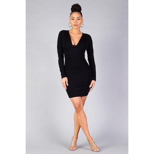 Long Sleeve Underwire Bodycon Mini Dress