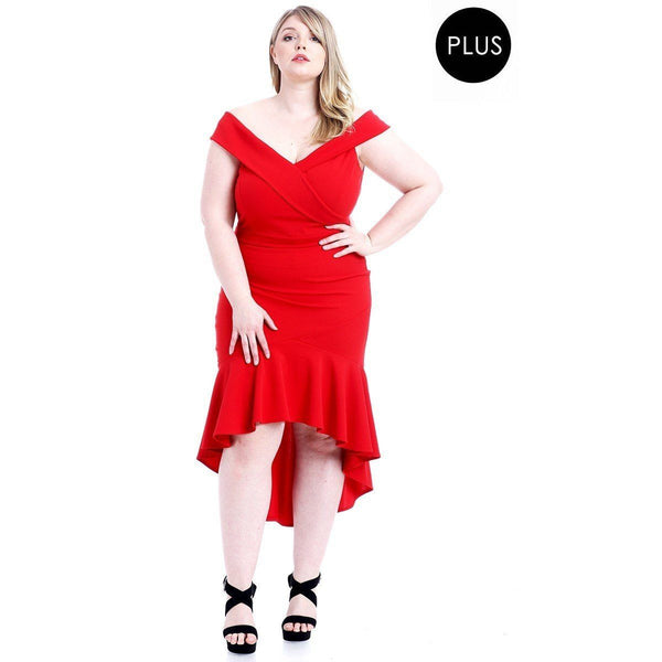 Plus Size Techno Crepe Stretch Off the Shoulder Dress