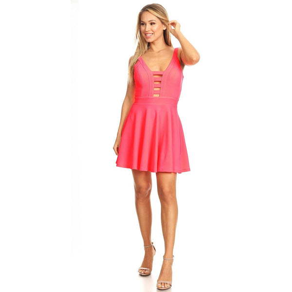 Fit and Flare Dress w/Back Zipper, Cutouts and Spaghetti Straps