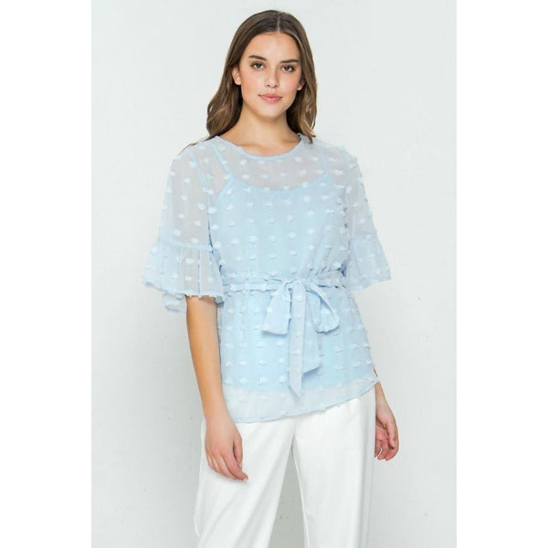 Self Tie Ruffled Sleeve Pom-Pom Top