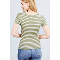 Short Sleeve Striped Pointelle Knit Top