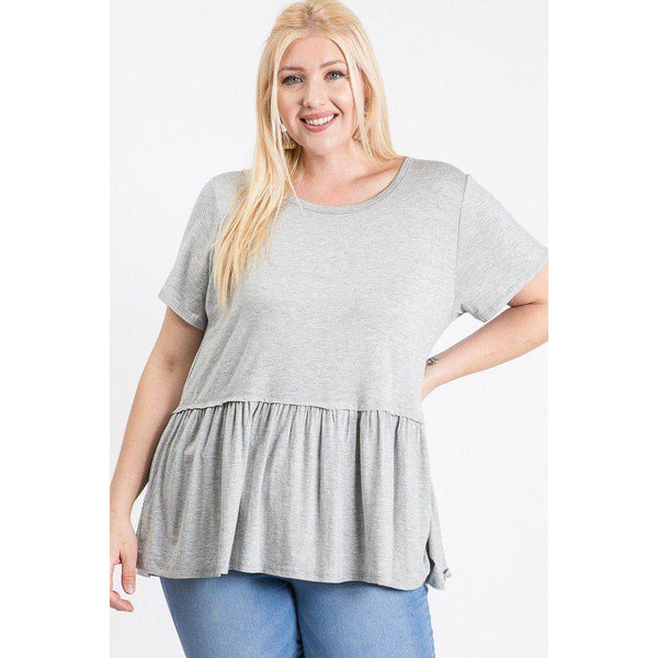 Plus Size Short Sleeve Babydoll Top