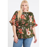 Plus Size Elastic Waistband Floral Top