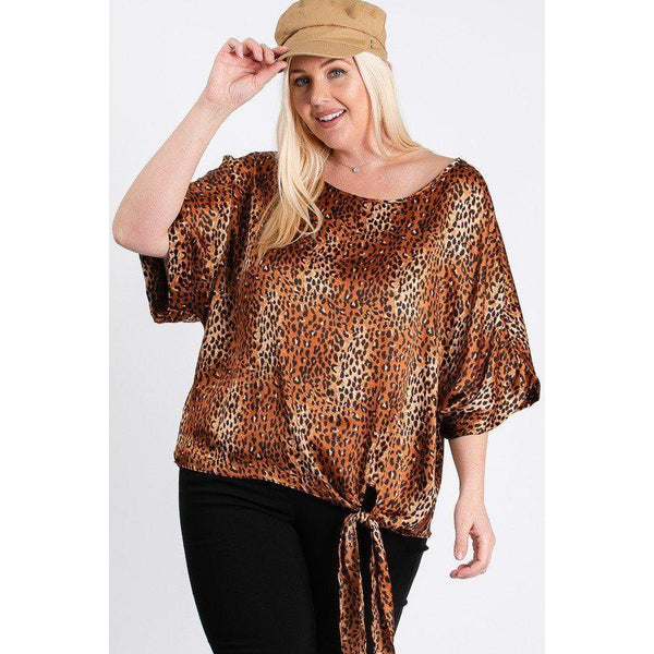 Plus Size Short Sleeve Side Knot Printed Top
