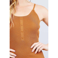 Round Neck Button Detail Cami Sweater Romper