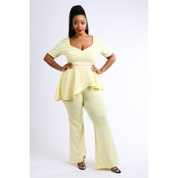 Plus Size Peplum Pants and Top Set