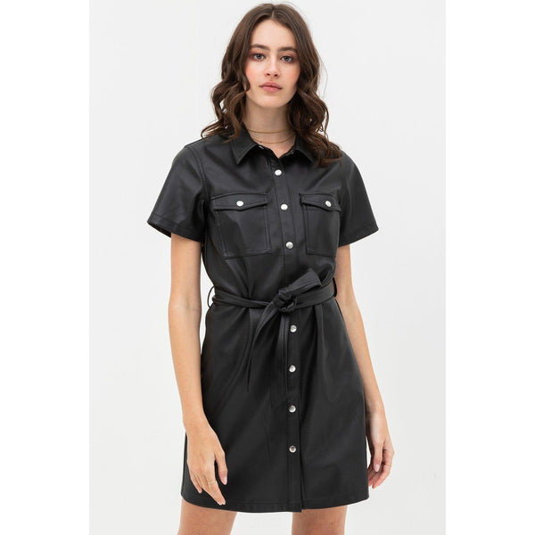 Pretty Pleather Silhouette Dress