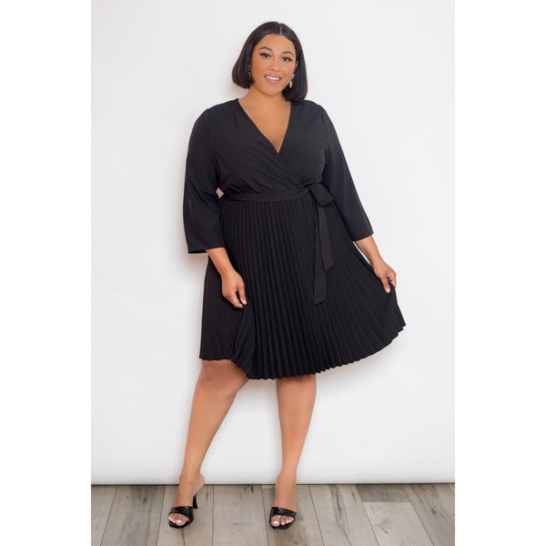 Plus Size Mini Surplice Pleated Dress